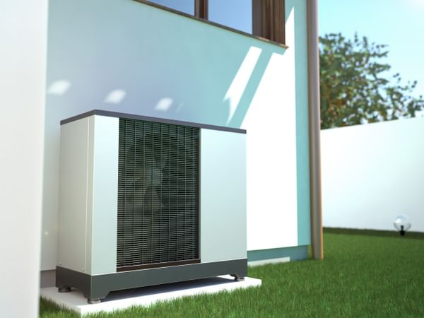 A cooling unit outside a business premise.
