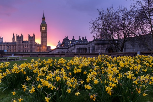 Sunset behind Big Ben and the Houses of Parliament in Westminster