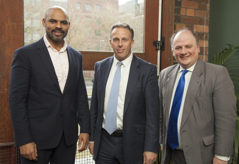 From left: Marvin Rees, Mayor of Bristol; Cllr Tim Warren, Leader of B&NES Council, and Cllr Matthew Riddle, Leader of South Gloucestershire Council.