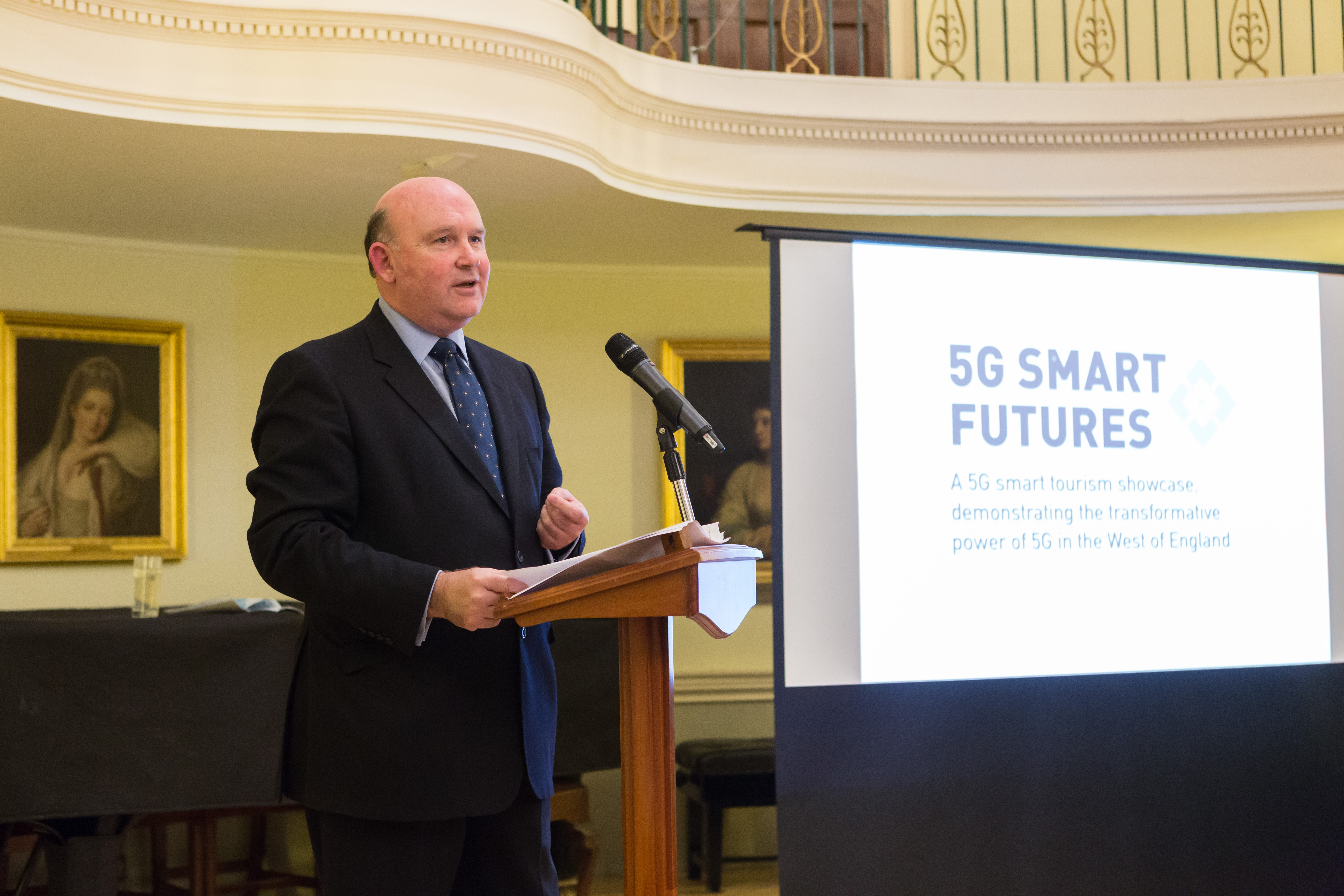 Tim Bowles speaking at 5G Smart Tourism launch 2019