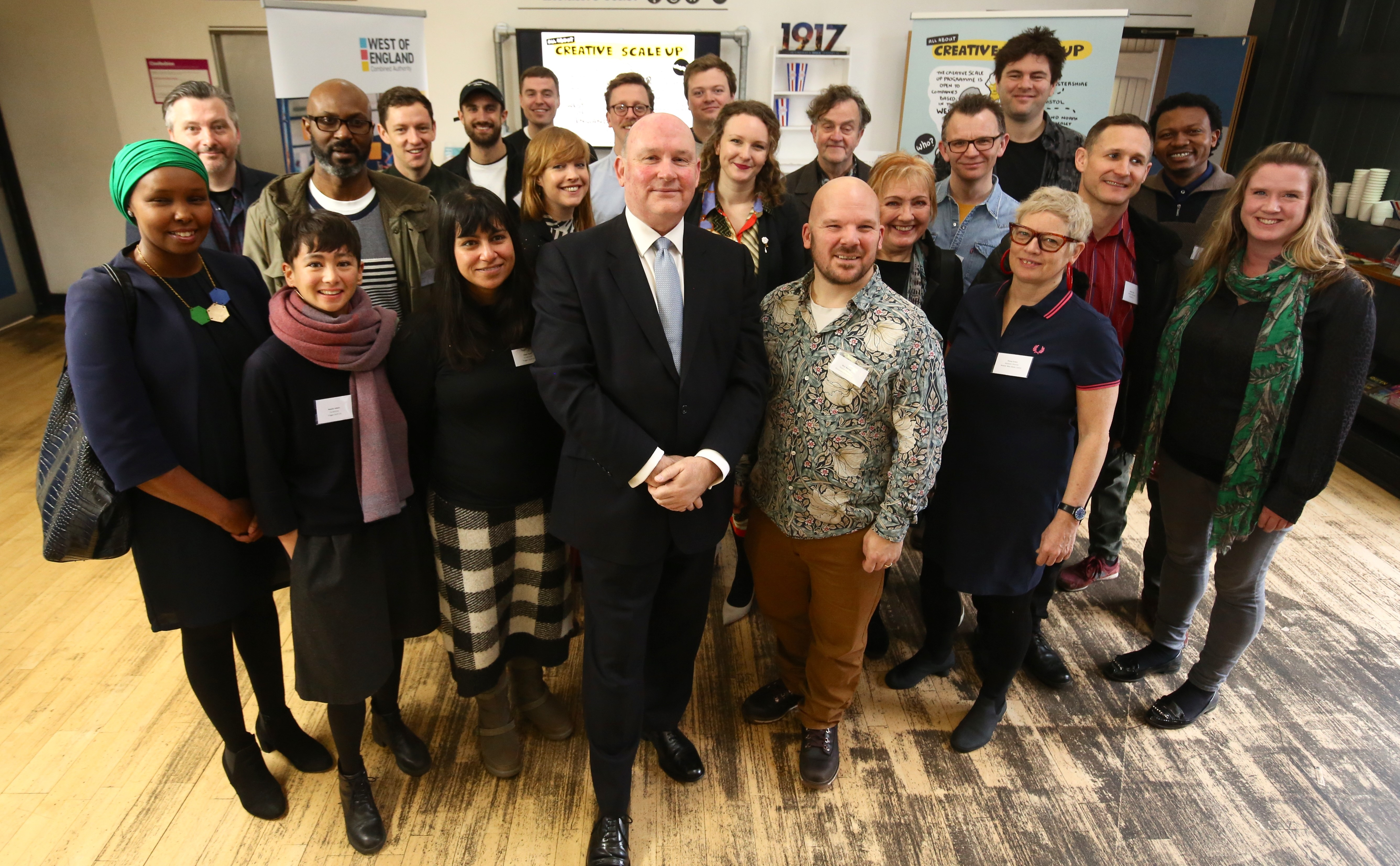Image: Mayor Tim Bowles with the first creative scale up cohort