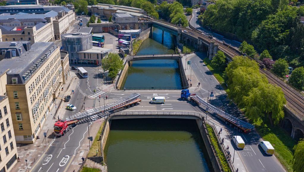 Drone image of bath quays newest bridge