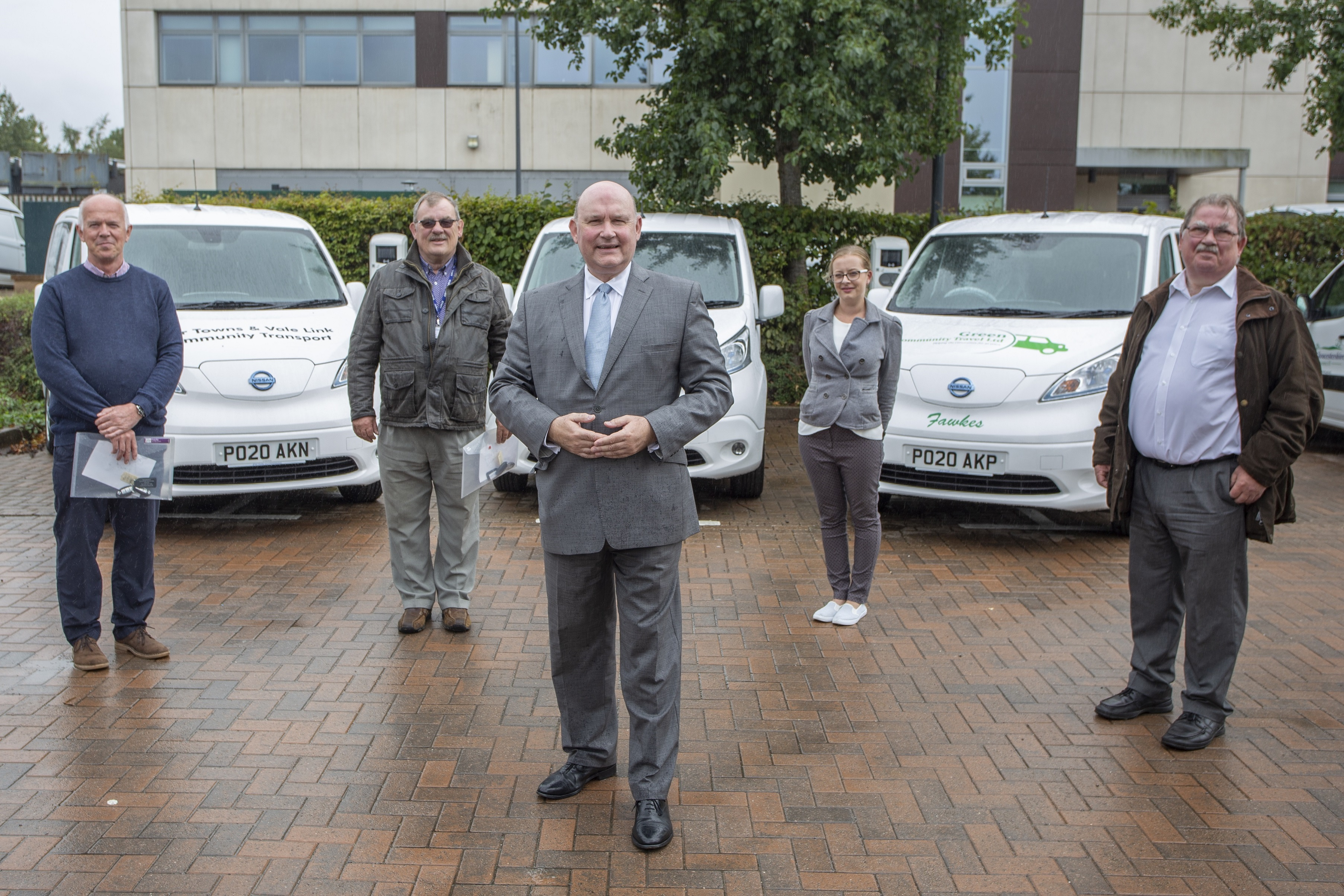 West of England Mayor Tim Bowles, Cllr Steve Reade, representatives for the community transport operators and the new vehicles