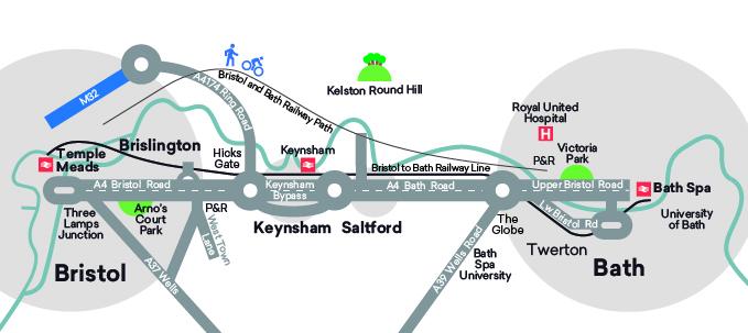 Map A4 Bristol to Bath corridor