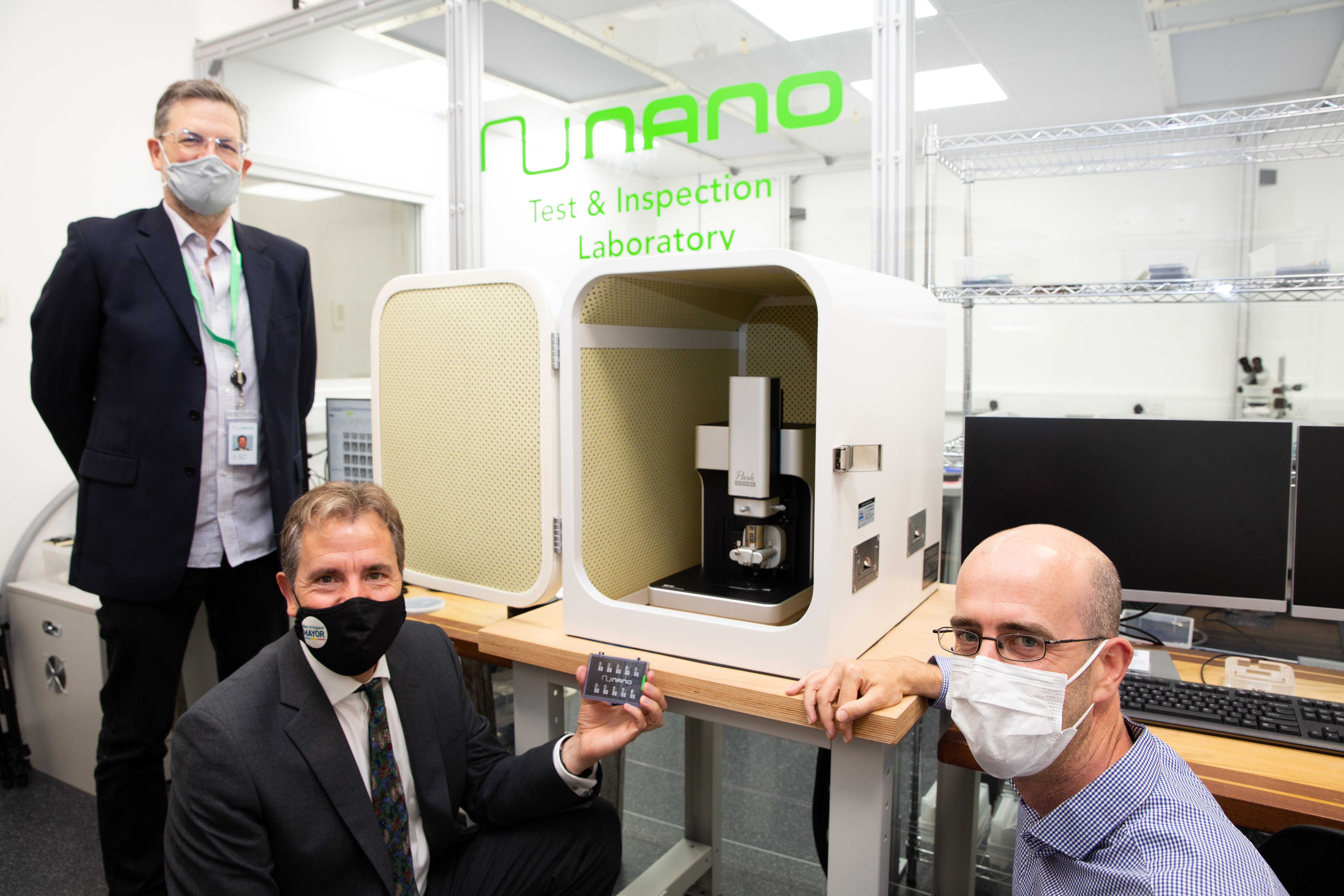 Photo of Metro Mayor Dan Norris with the team behind NuNano based at Unit DX in Bristol. July 2021.