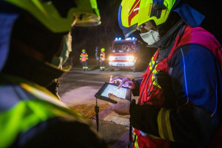 Fireman using a tablet