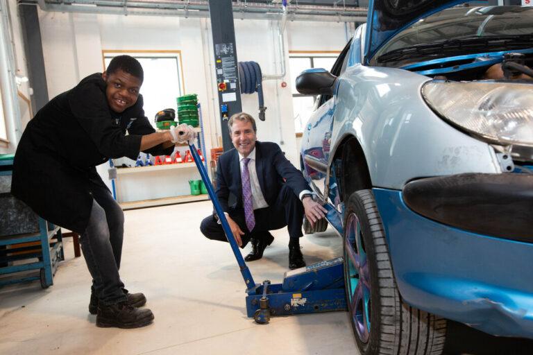 Young apprentice with Metro Mayor Dan Norris