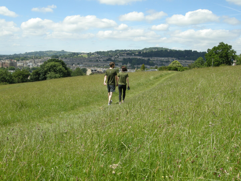 People walking on Bathwick Meadow, Bath